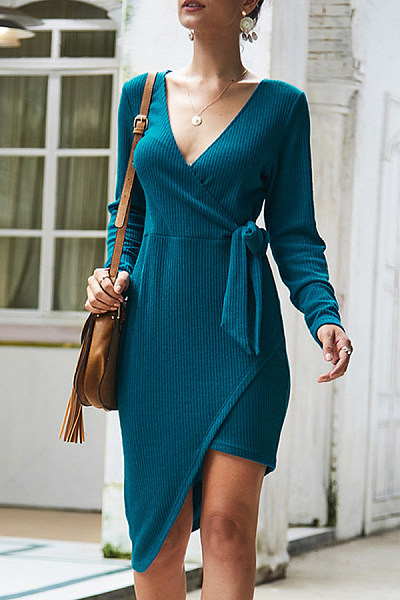 Sexy V-Neck Long-Sleeved Irregular Hem Lace-Up Knit Bodycon Dress