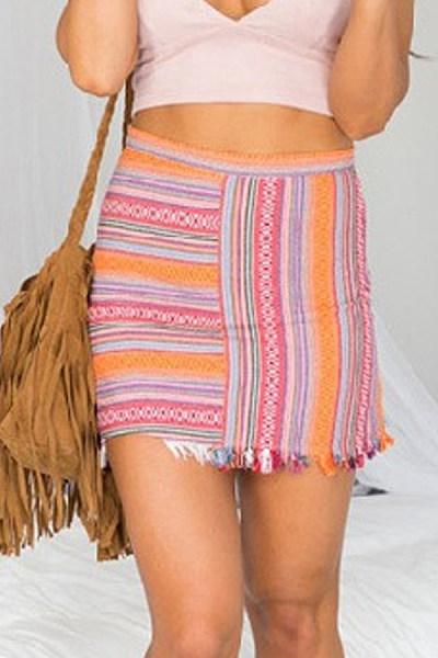 Blend   Beach  Summer Striped Skirts