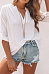 V Neck Roll-Up Sleeve Plain Pleated Casual Blouses
