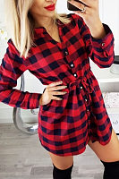 V Neck  Single Breasted  Gingham  Long Sleeve Casual Dresses