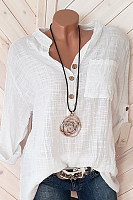 Casual Solid Color V-Neck Button Long-Sleeved Shirt