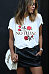Round Neck  Rose Print T-Shirts