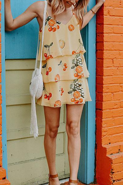 Sling Fruit Print Multi-Layer Dress