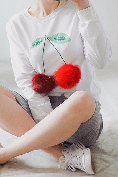 Cherry Round Neck  Patchwork Sweatshirts