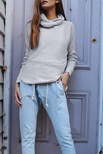 Acid Wash Plain Sweaters