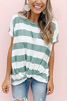 Striped Loose Bat Short Sleeve Round Neck T-Shirt Hem Knotted Pleated