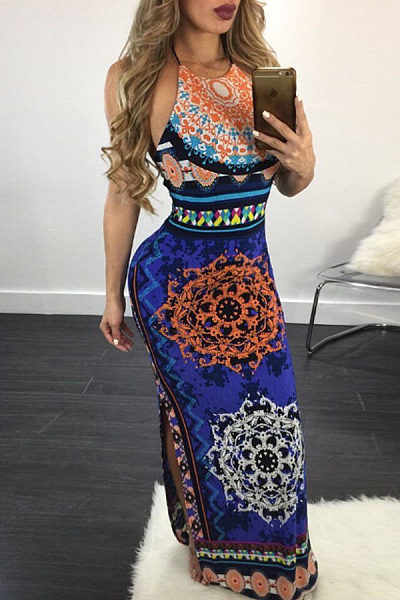 Halter  Backless Side Slit  Hollow Out Printed  Sleeveless Maxi Dresses