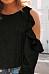 Round Neck  Cutout Ruffle Trim  Plain T-Shirts