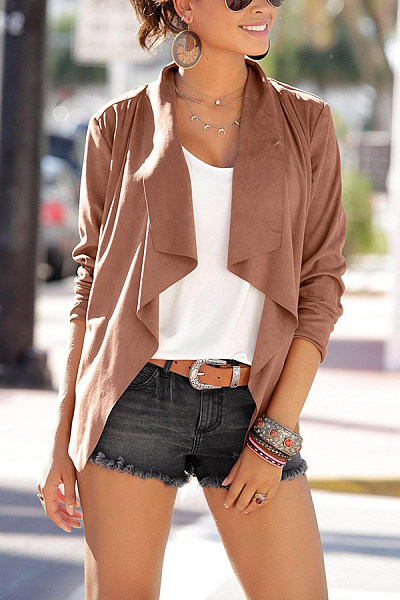 Casual Solid Color Lapel Faux Leather Irregular Long Sleeve Cardigan