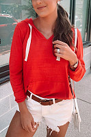 Casual Solid Color V-Neck Hooded Pocket Long-Sleeved Sweatershirt