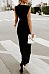 V Neck  Decorative Lace  Plain  Sleeveless Jumpsuits