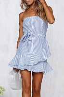 Strapless  Belt  Striped  Sleeveless Casual Dresses