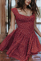 Round Neck  Dot  Short Sleeve  Elegant Skater Dresses