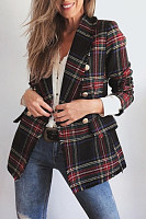 Fold Over Collar  Checkered Blazers