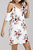 Spaghetti Strap  Flounce  Printed  Short Sleeve Casual Dresses