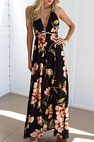 Spaghetti Strap  Backless  Floral Printed Maxi Dresses
