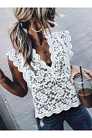 Sexy V Neck Hollow Out Splicing Lace Blouse