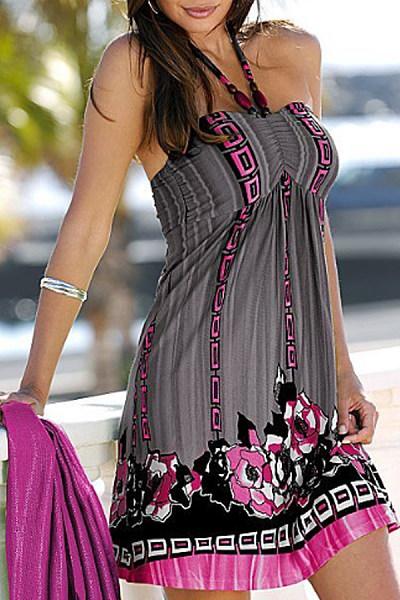 Halter  Printed Casual Dresses
