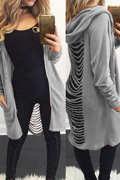 Hooded   Blend  Casual Plain Cardigans
