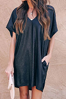 Casual V Neck Loose Fitting High Low Plain Dress