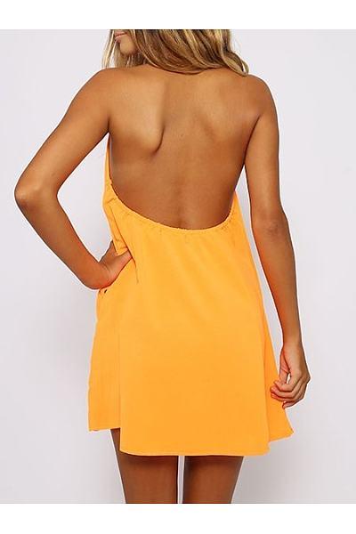 Round Neck  Backless  Plain  Sleeveless Casual Dresses