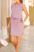 Casual Round Neck Sleeveless Solid Color Mini Dress