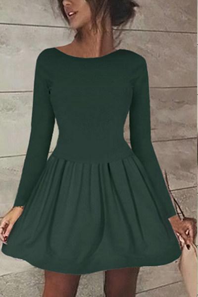 Round Neck  Plain  Long Sleeve Skater Dresses