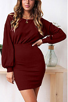 Round Neck  Plain  Lantern Sleeve  Long Sleeve Bodycon Dresses