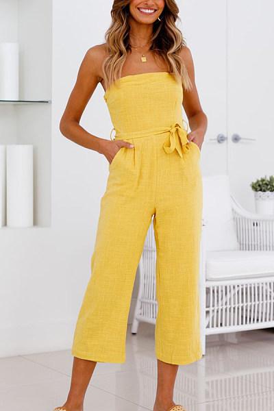 Strapless  Backless  Belt  Plain  Sleeveless Jumpsuits