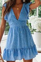 Short-Sleeved Ruffled V-Neck Dot Print Dress