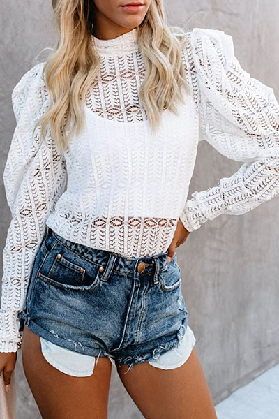 Glamorous Hollow Out Long Sleeve Blouse