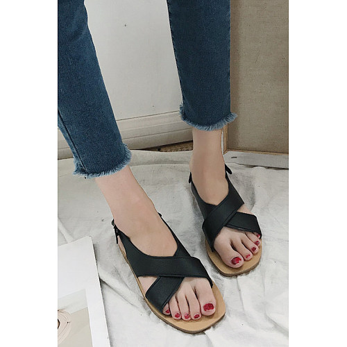 Fashion Cross Strap Flat Directly Sandal