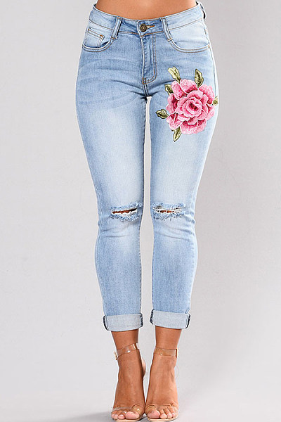 Fashion Embroidery Broken Hole High Stretch Jeans