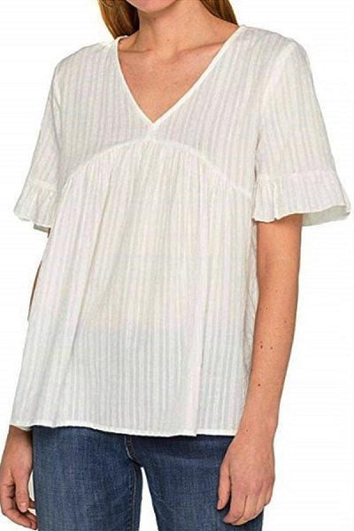 Sweet Pure Colour V Neck Splicing Chiffon T-Shirt