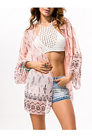 See Through Snap Front  Print Cover Ups