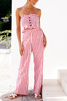 Strapless  Backless  Striped  Sleeveless Jumpsuits