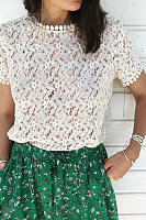 Sweet Openwork Flower Round Neck Lace Top
