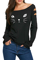Cute Word Collar Long Sleeve Bronken Holes T-Shirt