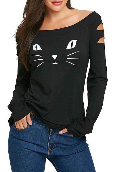 Cute Word Collar Long Sleeve Bronken Holes T-Shirt