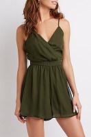 Deep V Neck  Backless  Plain  Sleeveless Casual Dresses