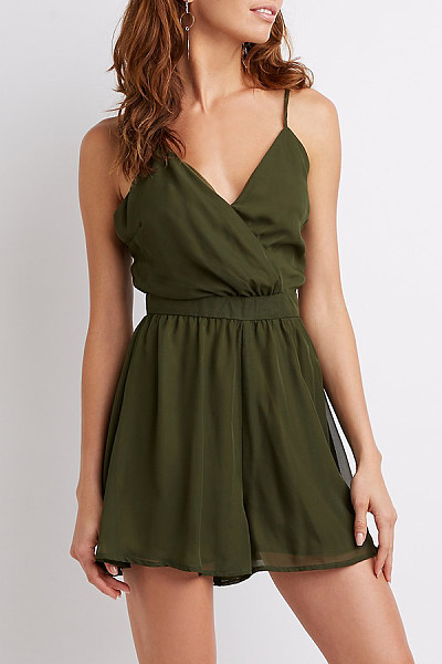 Deep V Neck  Backless  Plain  Sleeveless Casual Dresses