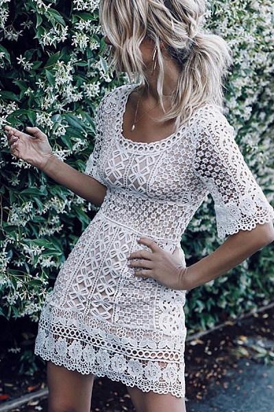 Round Neck  Plain  Short Sleeve  Elegant Bodycon Dresses