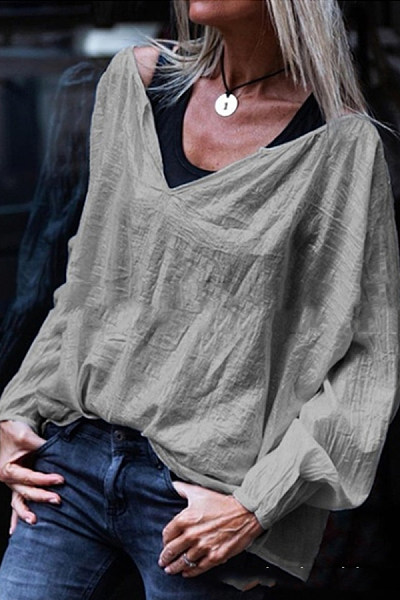Casual Loose V-Neck Solid Color Long-Sleeved T-Shirt