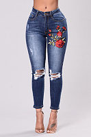 Broken Holes  Ripped  Embroidery Jeans