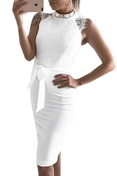 Decorative Lace  Plain  Sleeveless Bodycon Dresses