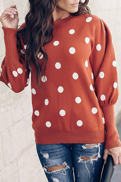 Round Neck  Dot Sweaters
