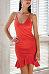 Spaghetti Strap  Asymmetric Hem  Plain  Sleeveless Bodycon Dresses