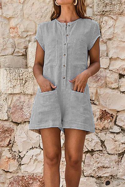Round Neck  Patch Pocket  Plain  Short Sleeve Jumpsuits