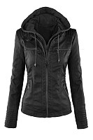 Black Fashion Zipped Jacket With Removable Hood