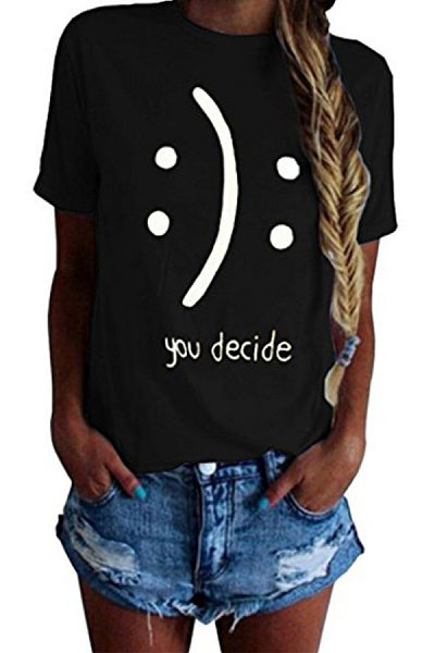 Round Neck  Letters Printed T-Shirts